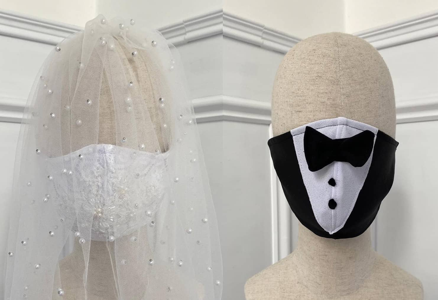 An Irish designer is selling wedding-themed face masks for